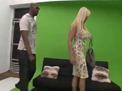 Blonde Mature hot sex with big black man