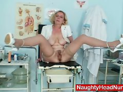 Hot mature nurse playing with herself