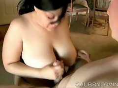 Busty bbw gives great fervent tit fuck and blowjob