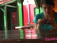 Hidden masturbation in pizzeria with naughty brunette slut