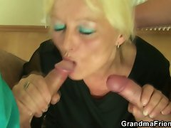 Granny teacher fucked by her studs