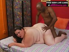 Fatty white chick takes some black cock inside her