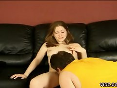 Cute teen strips for older guy and gets licked