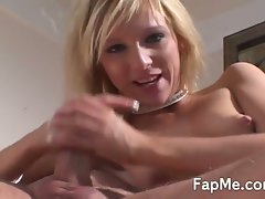Naked blonde enjoying a huge dick