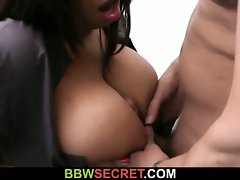Black secretary rides bosses dick after blowjob