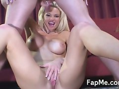 Slutty milf blonde takes care of a thick hot rod