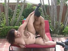 Amateur latina bbw miss angel gets fucked in lawn chair