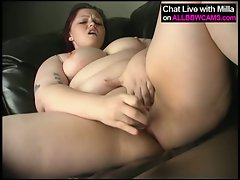 Fat plumper ass masterbating on couch