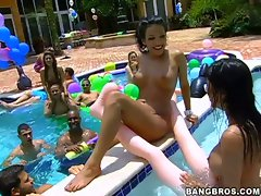 Wet and wild xxx pool party with hot latina