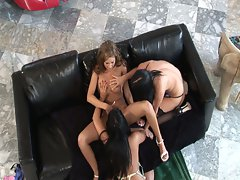 Lesbian threesome with amy reid, eva angelina and taryn thomas