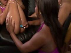 Horny black bitches sucking and toying ebony pussy