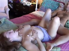 Cute chubby honey gives a hot footjob