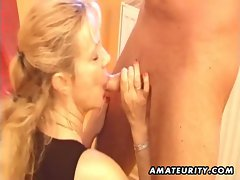 Busty amateur milf sucks and fucks with huge facial