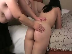 Three naughty lesbian goths stripping and spanking