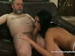 Old dude gets hot brunette wife to trade head and fuck