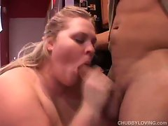 Busy blonde plays with a big cock