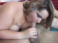 Chubby blonde gets fat pussy drilled