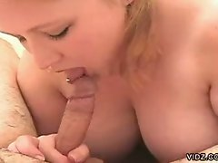 Busty blonde plump chick shows nasty cock pampering prowess pov