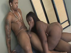 Skyy black fucked hard by two big black cocks