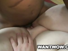 Big white roxy takes a huge black dick from behind
