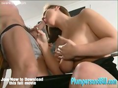 Chubby brunette with big tits gets pounded