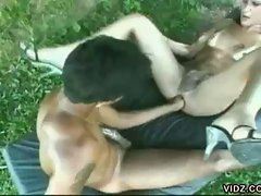 Shemale beauty pounded by nasty latino dick and hot fist outdoor