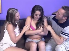 Teen in the middle gets her shirt taken off