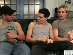 Three gay boys talk about it on the couch and then jerk off