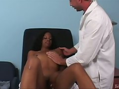 Ebony jessica valentino gets examined by doctor