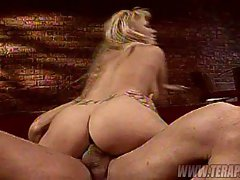 Wild child Angie Savage gets her wet pussy savagely rammed by a black cock