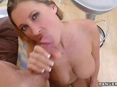 Huge tits MILF Devon Lee sucks a big cock and gets her face covered in cum