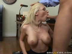 Helena White having mouthful of a fresh cock