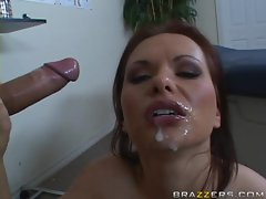 Sexy busty bitch Katja Kassin enjoys getting a face full of cum
