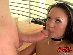 Cock lover Mya Luanna receives a dripping hot load of sperm on her mouth