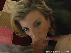 Sara Jay takes being a mom serious as tends to a hard cock with her mouth