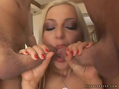 Filthy Florina Rose gets her juicy moist pussy pounded by two hard pricks