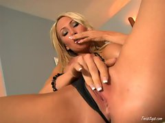 Lusty MILF Sandee Westgate caresses her tits and fingers her dripping pussy
