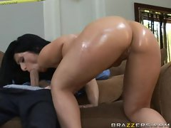 Luscious Lopez bends on a cock and gives a blowjob