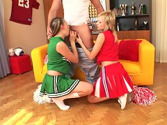 Sugar and her hot cheerleader friend share a hard cock