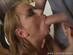 Nasty babe Violet Addamson fills her mouth with a huge cock