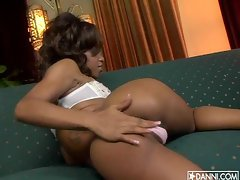 Black babe Marie Luv gets hotter showing off chunky butt cheeks