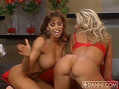 Beautiful babes Devon Michaels and girlfriend flash curvy tits and asses