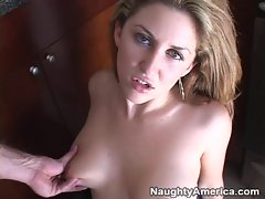 Isabella Soprano takes a huge load from a hard cock in her office