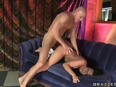Rachel Starr gets a big thick load in her mouth after being fucked hard