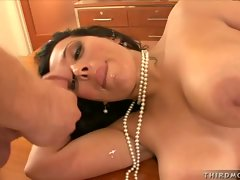 Dark haired Sienna West takes a hardcore facial after a steamy fuck