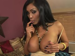 Dark haired indian tease Priya Rai rubbing her juggs and shaved pussy