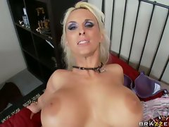 Holly Halston rides the man meat so hard then gets face sprayed
