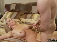 Horny Julia Ann sucking a large hard cock until her mouth gets cummed