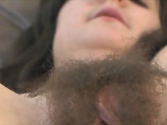 Brunette shows of her super hairy snatch
