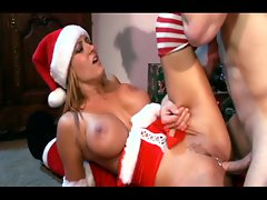 Christmas sex in red lingerie with a busty blonde